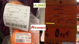 LA UNIÓ denuncia de nuevo otra venta de naranjas procedentes de Sudáfrica en la cadena de supermercados Alcampo
