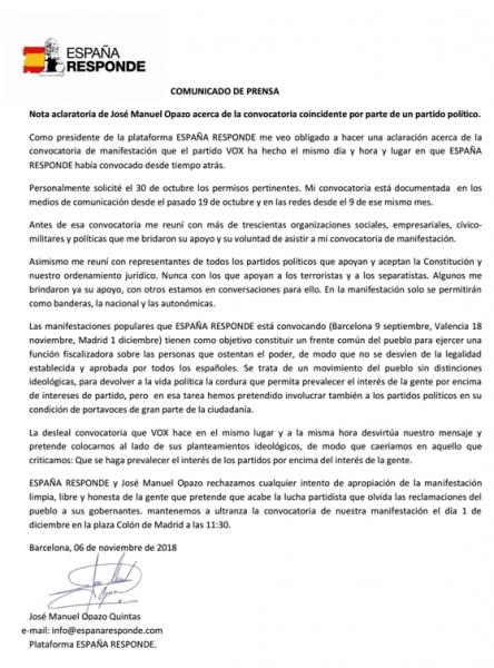 Comunicado José Manuel Opazo
