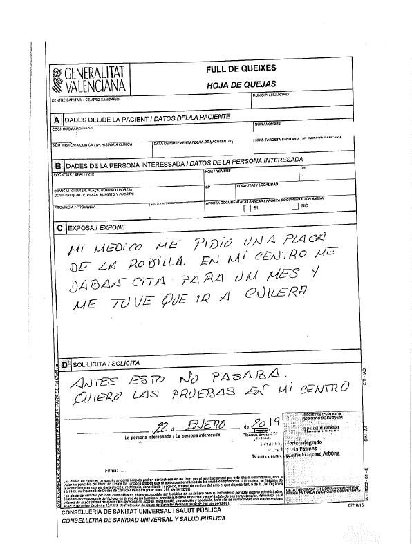 Queja de Pacientes Alzira a la Conselleria de Sanidad