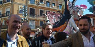 Santiago Abascal con Jose María Llanos y José Gosalbez - Fallas 2019