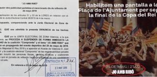 Pepe Gosálbez Critica a Ribó por poner una pantalla para la Final de Copa con su Slogan de campaña