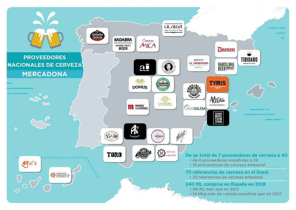 Mapa de proveedores nacionales de Cerveza en Mercadona