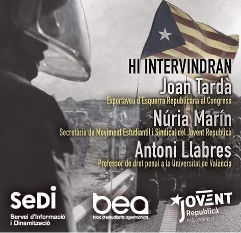 El Sindicato estudiantil BEA, afin al Bloc (Compromís) invita a Tardá (ERC) a hablar de libertades en España