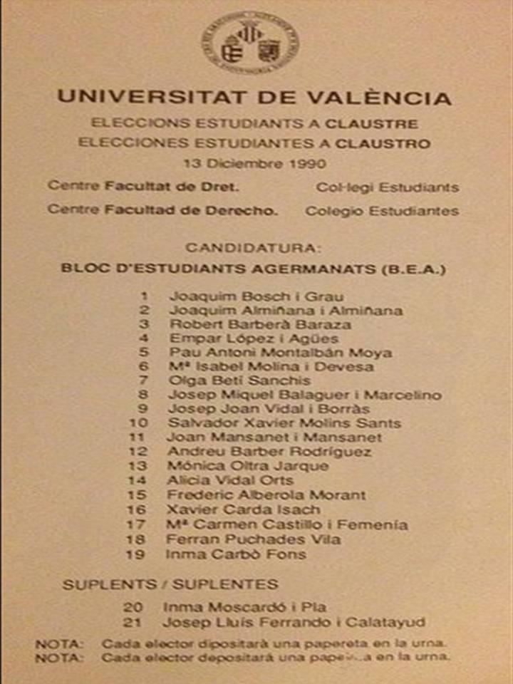 peleta de elecciones al claustro de la Universidad por el catalanista BEA