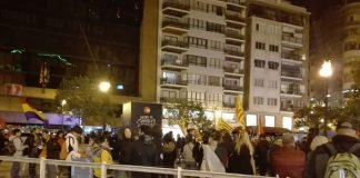 Amenazado el reportero de Valencia News en la protesta independentista ante la policia nacional.