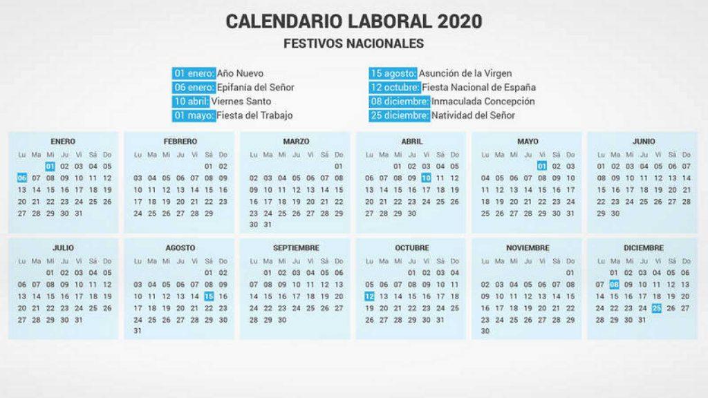El calendario laboral de 2020 recoge ocho días festivos en toda España