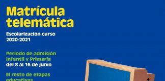 Las nuevas escolarizaciones en los centros de l'Eliana se realizarán telemáticamente a partir del 8 de junio