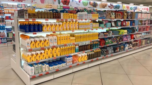 Lineal de solares y aftersun de un supermercado de Mercadona