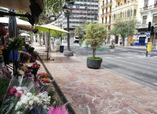 Las Floristerías de la Plaza del Ayuntamiento muy preocupadas y con una bajada del 80% de las ventas