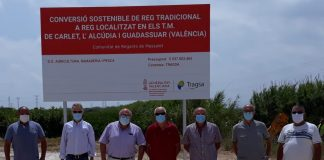 Las obras de modernización de regadío en la Comunidad de Regantes de Masalet permitirán reconvertir a riego localizado cerca de 1.500 hectáreas
