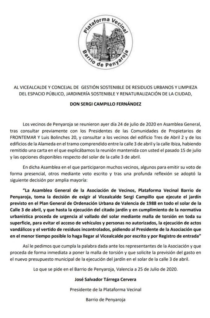 Los vecinos de Penyaroja exigen al Vicealcalde Sergi campillo soluciones inmediatas