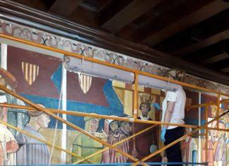El IVCR+i restaura las pinturas cubistas de José Vento en el Palau de la Generalitat Valenciana